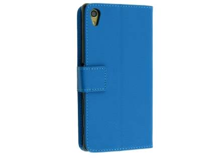 Slim Synthetic Leather Wallet Case with Stand for Sony Xperia Z5 Premium - Blue Leather Wallet Case