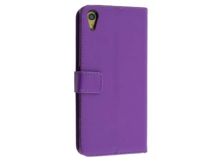 Slim Synthetic Leather Wallet Case with Stand for Sony Xperia Z5 Premium - Purple Leather Wallet Case