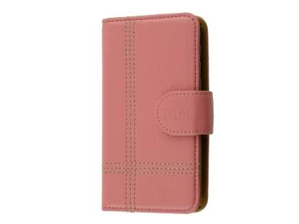 Synthetic Leather Wallet Case for Samsung Galaxy S4 - Pink Leather Wallet Case