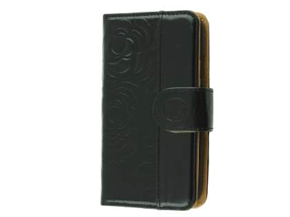 Synthetic Leather Wallet Case for Samsung Galaxy S4 - Classic Black Leather Wallet Case