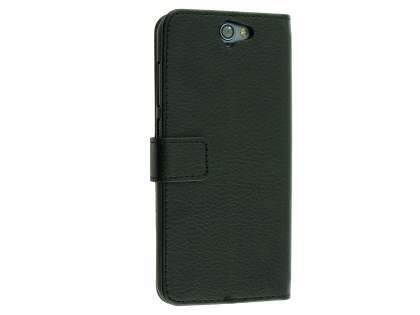 Synthetic Leather Wallet Case with Stand for HTC Telstra Signature Premium - Classic Black Leather Wallet Case