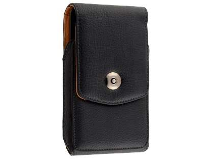 Synthetic Leather Belt Pouch for LG K10 (Bumper Case Compatible) - Classic Black Belt Pouch