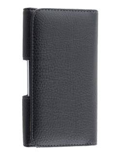 Textured Synthetic Leather Belt Pouch for LG K10 (Bumper Case Compatible) - Classic Black Belt Pouch