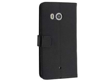 Synthetic Leather Wallet Case with Stand for HTC U11 - Black Leather Wallet Case