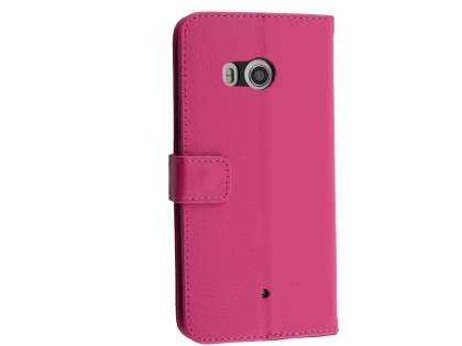 Synthetic Leather Wallet Case with Stand for HTC U11 - Pink Leather Wallet Case