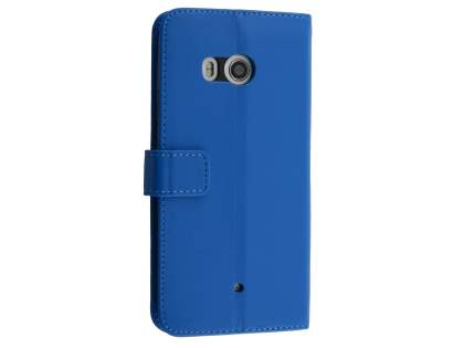 Synthetic Leather Wallet Case with Stand for HTC U11 - Blue Leather Wallet Case