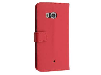 Synthetic Leather Wallet Case with Stand for HTC U11 - Red Leather Wallet Case