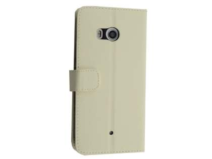 Synthetic Leather Wallet Case with Stand for HTC U11 - White Leather Wallet Case