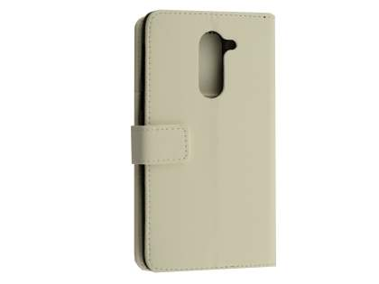 Synthetic Leather Wallet Case with Stand for Huawei GR5 2017 - White Leather Wallet Case