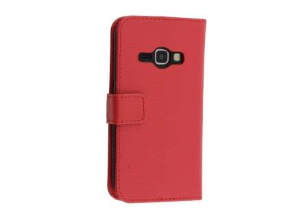 Synthetic Leather Wallet Case with Stand for Samsung Galaxy J3 (2016) - Red Leather Wallet Case