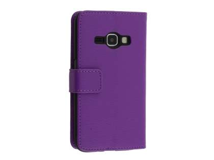 Synthetic Leather Wallet Case with Stand for Samsung Galaxy J3 (2016) - Purple Leather Wallet Case