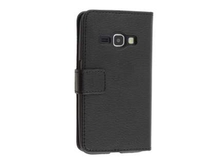 Synthetic Leather Wallet Case with Stand for Samsung Galaxy J3 (2016) - Black Leather Wallet Case