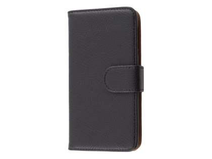 HTC Desire 510 Synthetic Leather Wallet Case with Stand - Classic Black Leather Wallet Case