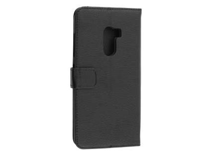 Synthetic Leather Wallet Case with Stand for HTC One X10 - Black Leather Wallet Case