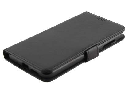 Synthetic Leather Wallet Case with Stand for HTC One X10 - Black