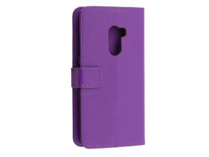 Synthetic Leather Wallet Case with Stand for HTC One X10 - Purple Leather Wallet Case