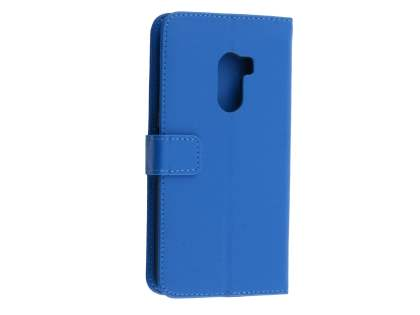 Synthetic Leather Wallet Case with Stand for HTC One X10 - Blue Leather Wallet Case