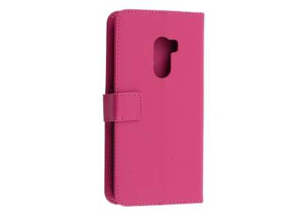 Synthetic Leather Wallet Case with Stand for HTC One X10 - Pink Leather Wallet Case