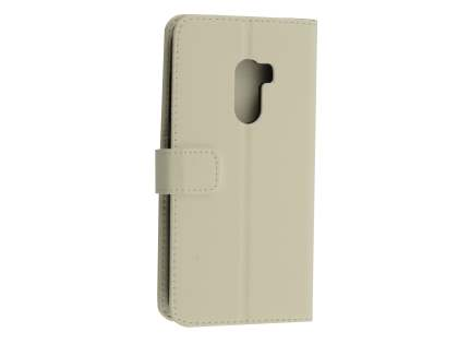Synthetic Leather Wallet Case with Stand for HTC One X10 - White Leather Wallet Case
