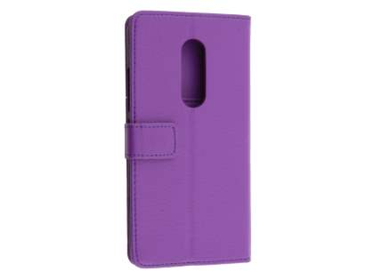 Synthetic Leather Wallet Case with Stand for ZTE Axon 7 - Purple Leather Wallet Case