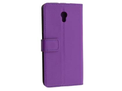 Synthetic Leather Wallet Case with Stand for ZTE Blade V7 - Purple Leather Wallet Case