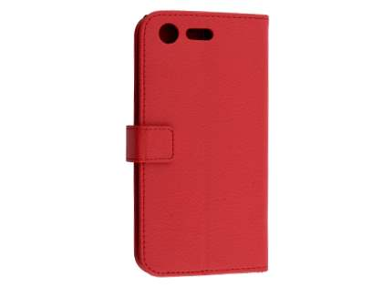 Slim Synthetic Leather Wallet Case with Stand for Sony Xperia XZ Premium - Red Leather Wallet Case