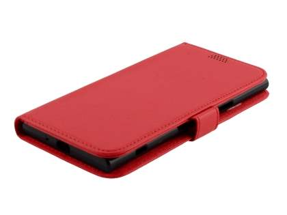 Slim Synthetic Leather Wallet Case with Stand for Sony Xperia XZ Premium - Red