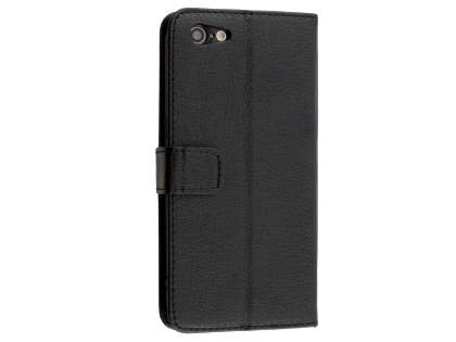 Slim Synthetic Leather Wallet Case with Stand for Oppo A57 - Classic Black Leather Wallet Case