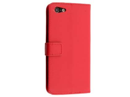 Slim Synthetic Leather Wallet Case with Stand for Oppo A57 - Red Leather Wallet Case