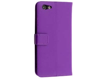 Slim Synthetic Leather Wallet Case with Stand for Oppo A57 - Purple Leather Wallet Case