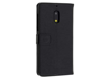 Synthetic Leather Wallet Case with Stand for Nokia 6 - Classic Black Leather Wallet Case
