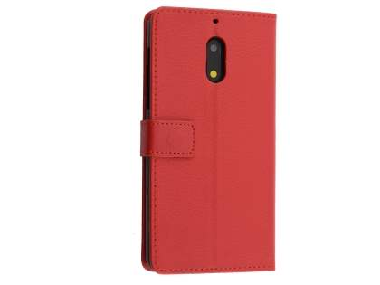 Synthetic Leather Wallet Case with Stand for Nokia 6 - Red Leather Wallet Case