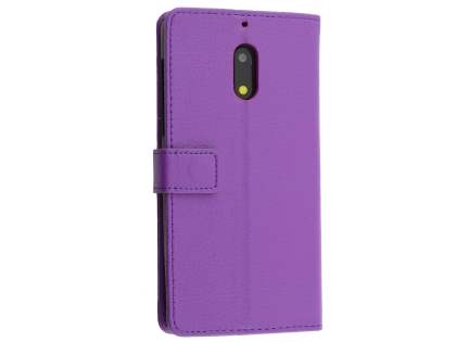 Synthetic Leather Wallet Case with Stand for Nokia 6 - Purple Leather Wallet Case
