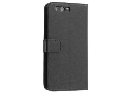 Synthetic Leather Wallet Case with Stand for Huawei P10 Plus - Classic Black Leather Wallet Case