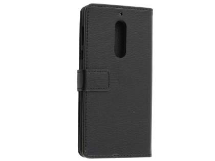 Synthetic Leather Wallet Case with Stand for Nokia 5 - Classic Black Leather Wallet Case