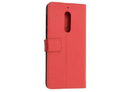 Synthetic Leather Wallet Case with Stand for Nokia 5 - Red Leather Wallet Case