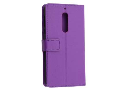 Synthetic Leather Wallet Case with Stand for Nokia 5 - Purple Leather Wallet Case