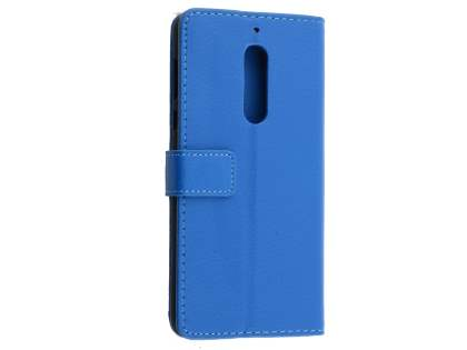 Synthetic Leather Wallet Case with Stand for Nokia 5 - Blue Leather Wallet Case