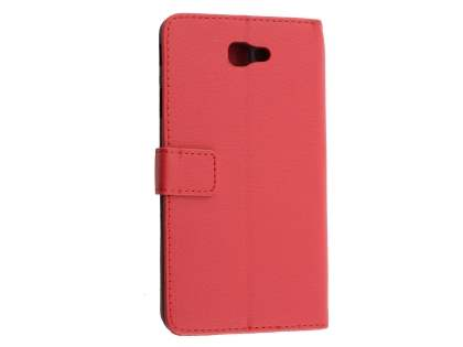 Synthetic Leather Wallet Case with Stand for Samsung Galaxy J7 Prime - Red Leather Wallet Case