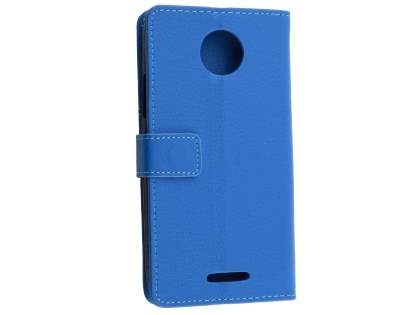 Slim Synthetic Leather Wallet Case with Stand for Motorola Moto C - Blue Leather Wallet Case