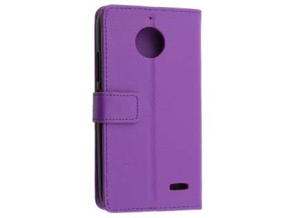 Slim Synthetic Leather Wallet Case with Stand for Motorola Moto E4 - Purple Leather Wallet Case