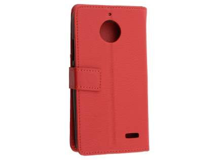 Slim Synthetic Leather Wallet Case with Stand for Motorola Moto E4 - Red Leather Wallet Case