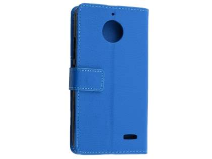 Slim Synthetic Leather Wallet Case with Stand for Motorola Moto E4 - Blue Leather Wallet Case