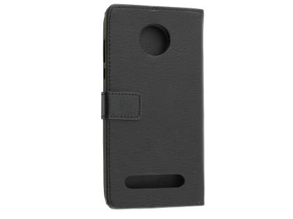 Slim Synthetic Leather Wallet Case with Stand for Motorola Z2 Play - Classic Black Leather Wallet Case