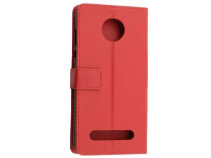 Slim Synthetic Leather Wallet Case with Stand for Motorola Z2 Play - Red Leather Wallet Case