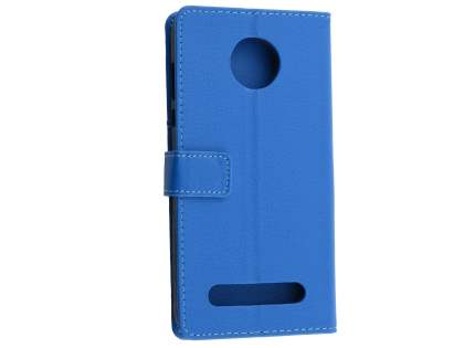 Slim Synthetic Leather Wallet Case with Stand for Motorola Z2 Play - Blue Leather Wallet Case
