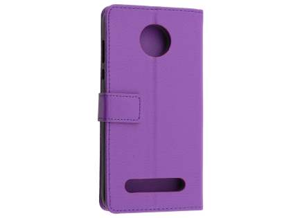 Slim Synthetic Leather Wallet Case with Stand for Motorola Z2 Play - Purple Leather Wallet Case