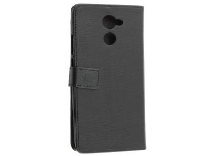 Slim Synthetic Leather Wallet Case with Stand for Huawei Y7 - Classic Black Leather Wallet Case