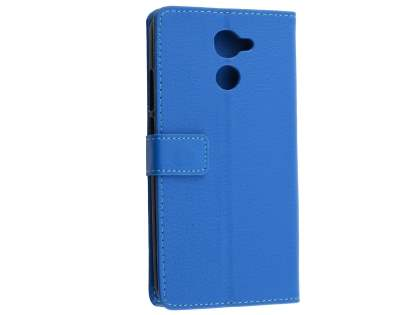 Slim Synthetic Leather Wallet Case with Stand for Huawei Y7 - Blue Leather Wallet Case