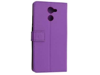 Slim Synthetic Leather Wallet Case with Stand for Huawei Y7 - Purple Leather Wallet Case